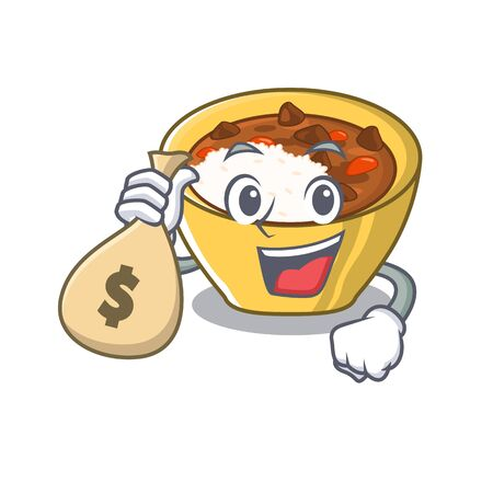 With money bag rice curry served in mascot containers vector illustration