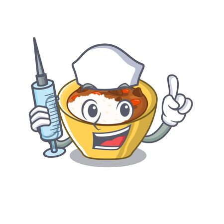 Nurse rice curry isolated with the cartoon 일러스트