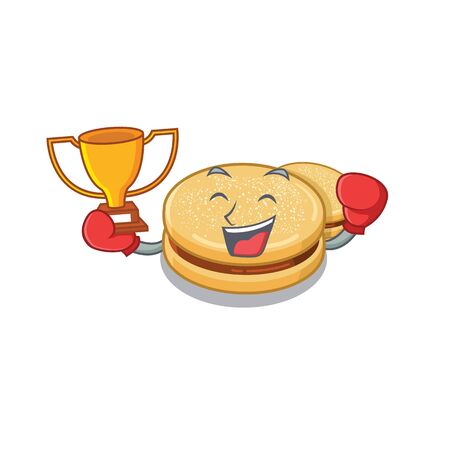 Boxing winner alfajores isolated with in the mascot vector illustration Reklamní fotografie - 128567532