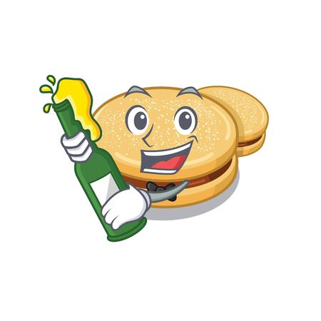With beer alfajores isolated with in the mascot Stock Illustratie