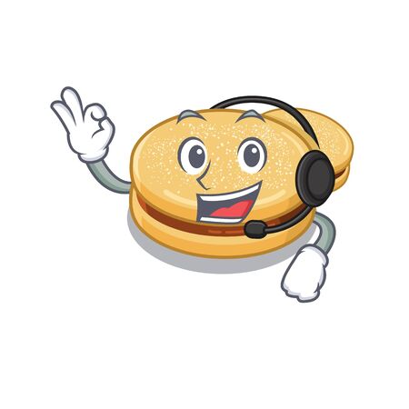 With headphone alfajores isolated with in the mascot