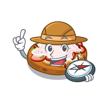 Explorer bread bruschetta above cartoon wooden table