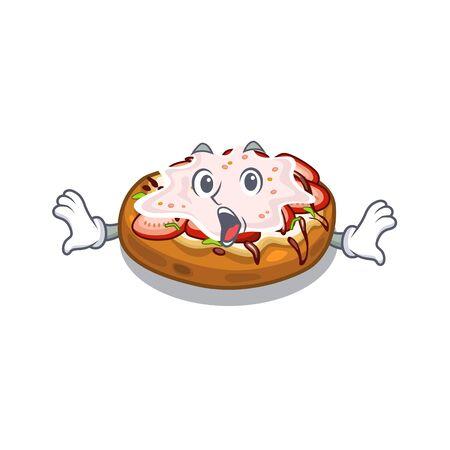 Surprised bread bruschetta above cartoon wooden table vector illustration