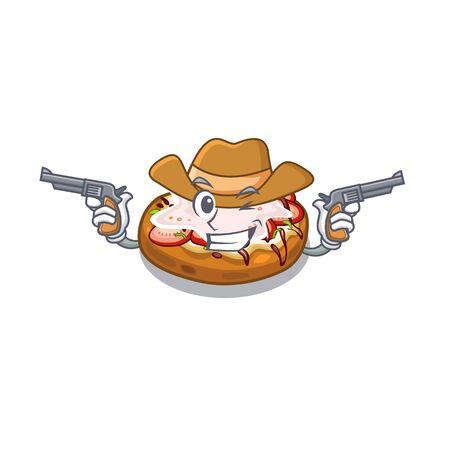 Cowboy bruschetta served above the mascot board Standard-Bild - 128903725