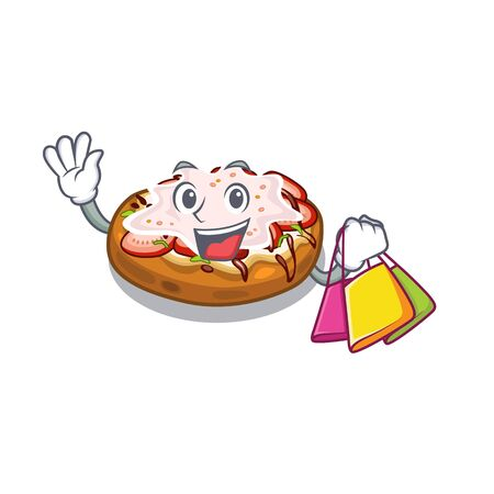 Shopping bruschetta in the a cartoon lunchbox vector illustration