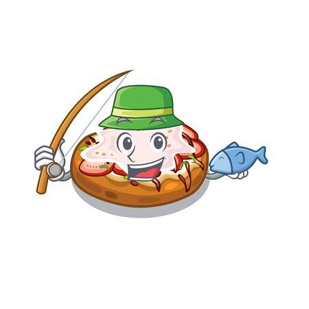 Fishing bread bruschetta above cartoon wooden table vector illustration