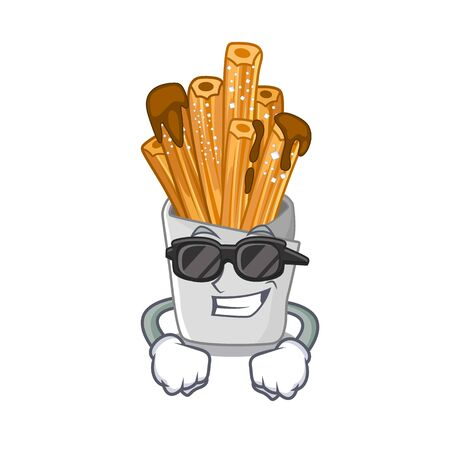 Super cool churros isolated with in the cartoon vector illustration