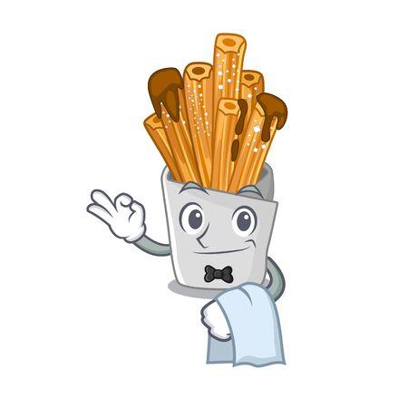 Waiter bakery churros in mascot plastic bag vector illustration