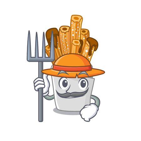 Farmer churros with in the cartoon shape vector illustration Illustration