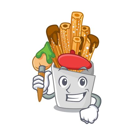 Artist churros with in the cartoon shape vector illustration  イラスト・ベクター素材