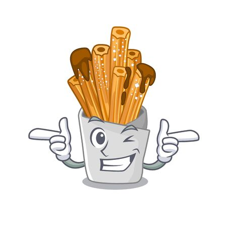 Wink churros isolated with in the cartoon vector illustration