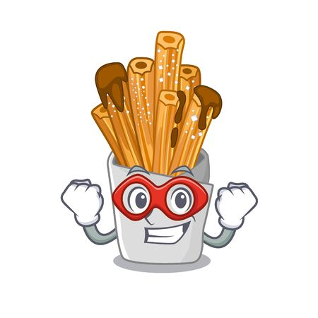 Super hero churros isolated with in the cartoon