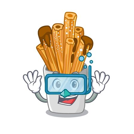 Diving churros isolated with in the cartoon vector illustration