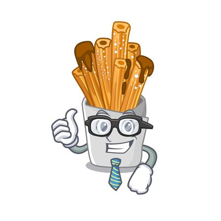 Businessman churros isolated with in the cartoon vector illustration
