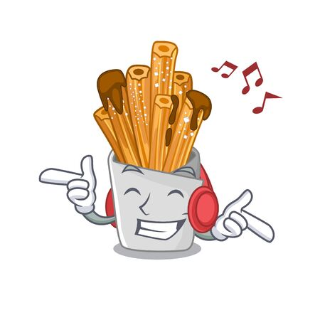Listening music bakery churros in mascot plastic bag