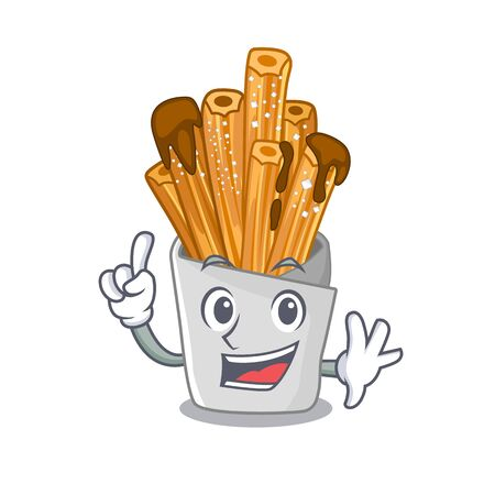 Finger churros in the wooden character jar vector illustration