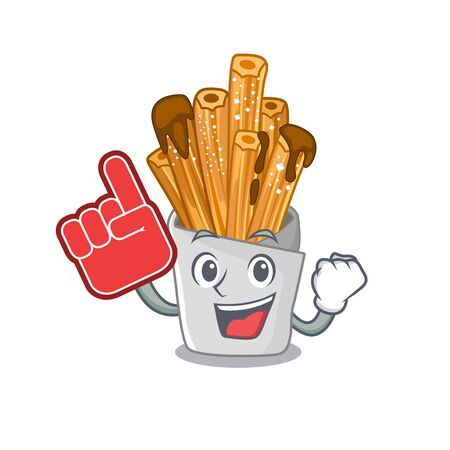Foam finger churros in the wooden character jar vector illustration