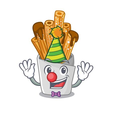 Clown churros in the wooden character jar vector illustration  イラスト・ベクター素材