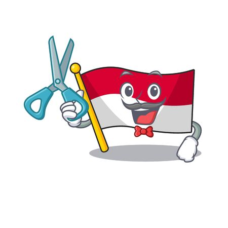 Barber flag indonesia in the cartoon shape vector illustration  イラスト・ベクター素材