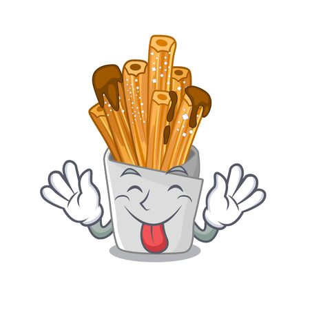 Tongue out churros in the wooden character jar Illustration