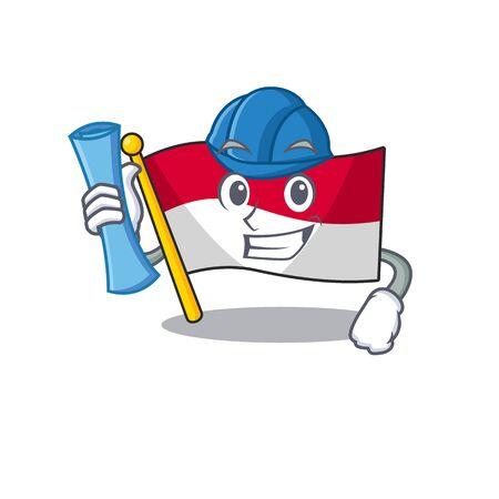 Architect flag indonesia hoisted on cartoon poles vector illustration Ilustração