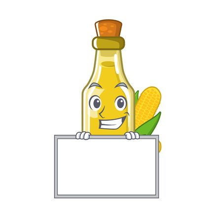 Grinning with board corn oil in a cartoon bowl vector illustration