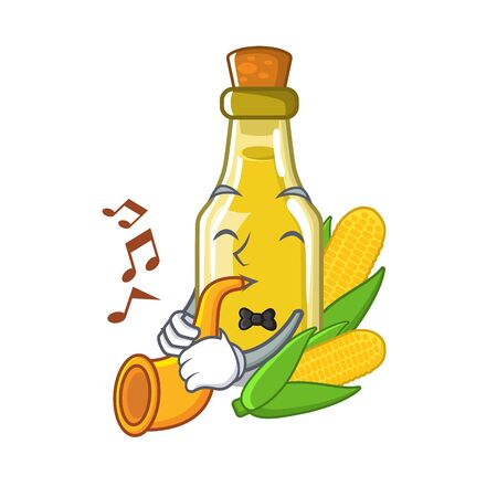With trumpet corn oil isolated in the mascot vector illustration