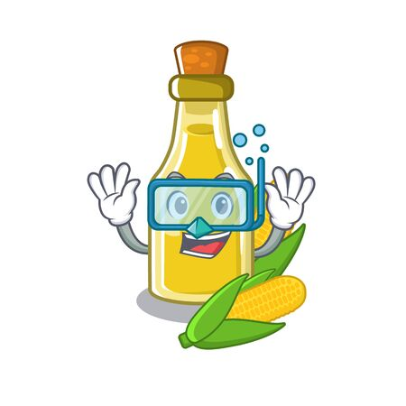 Diving corn oil put into cartoon bottle