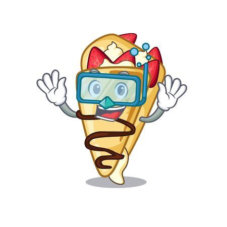 Diving crepe with in the cartoon shape vector illustration  イラスト・ベクター素材