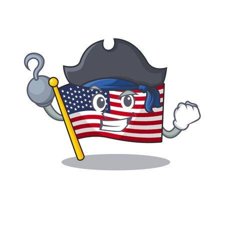 Pirate flag america isolated in the cartoon