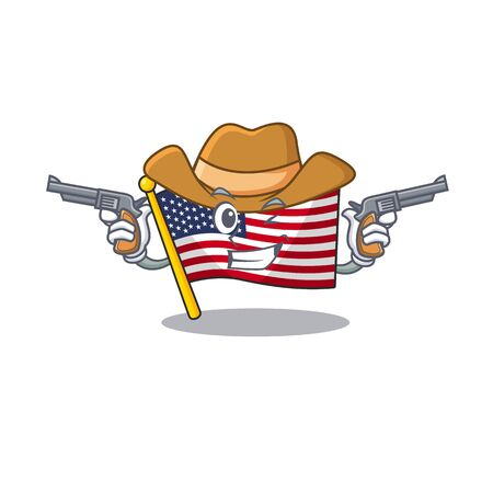 Cowboy flag america isolated in the cartoon Illustration