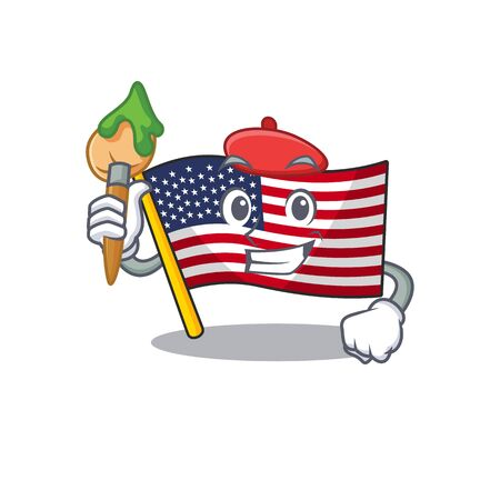 Artist flag america isolated in the cartoon