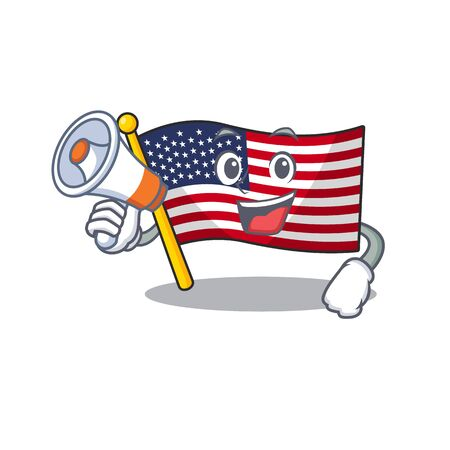 With megaphone flag america isolated in the cartoon