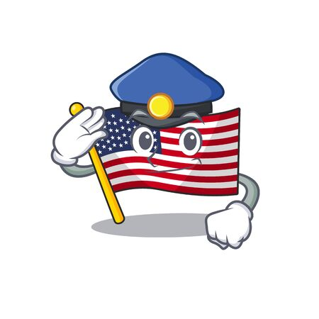 Police flag america isolated in the cartoon