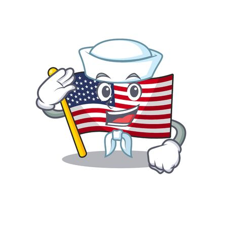 Sailor flag america isolated in the cartoon