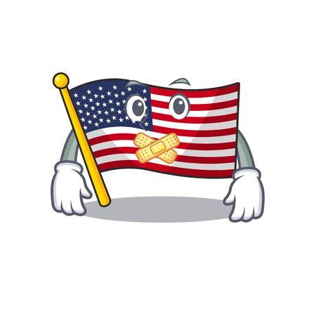 Silent american flag folded above character tables Ilustração