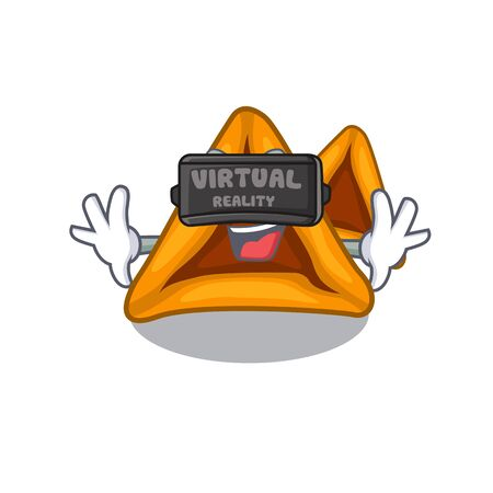 Virtual reality hamantaschen cookies isolated with the mascot