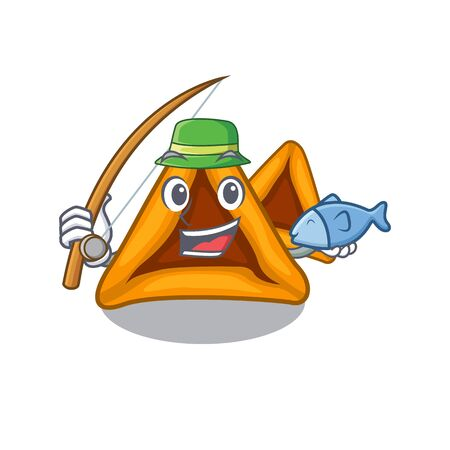 Fishing hamantaschen cookies isolated with the mascot Illustration