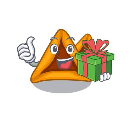 With gift hamantaschen cookies isolated with the mascot