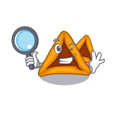 Detective hamantaschen cookies with the cartoon shape Ilustração