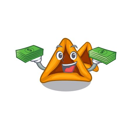 With money  hamantaschen cookies isolated with the mascot