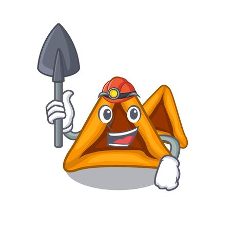 Miner hamantaschen cookies isolated with the mascot