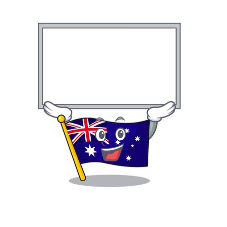 Up board australian flag clings to cartoon wall vector illustration