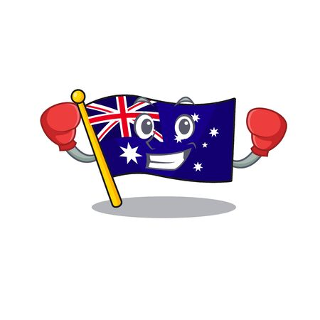 Boxing australian flag clings to cartoon wall vector illustration Illusztráció