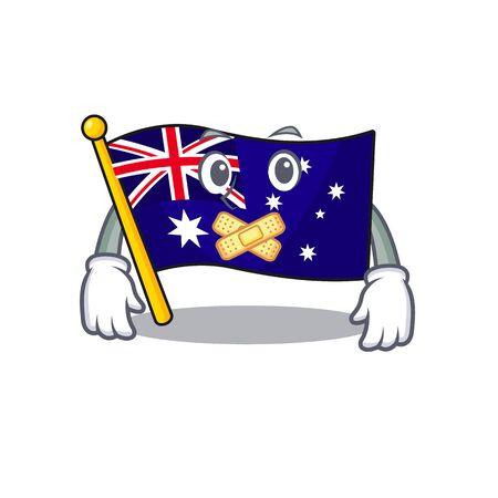 Silent flag australia isolated in the mascot  イラスト・ベクター素材