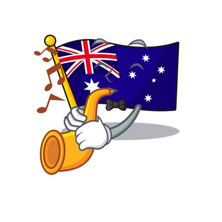 With trumpet flag australia in the character shape vector illustration