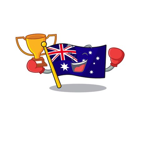 Boxing winner flag australia isolated in the mascot vector illustration