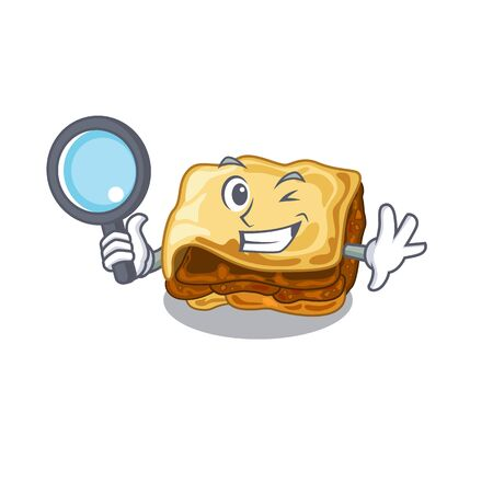 Detective moussaka is cooked in cartoon pan Illustration