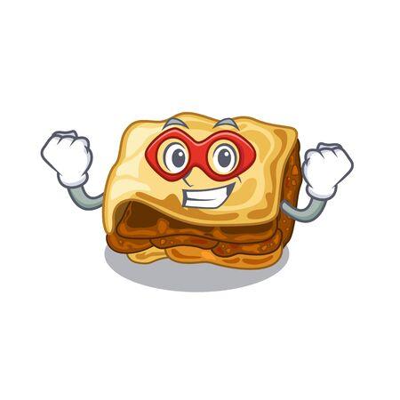 Super hero moussaka is cooked in cartoon pan