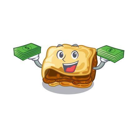 With money bag moussaka isolated with in the cartoon vector illustration